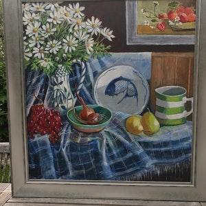 (CreativeWork) Still Life With Dasies by Primose Sully. arcylic-painting. Shop online at Bluethumb.