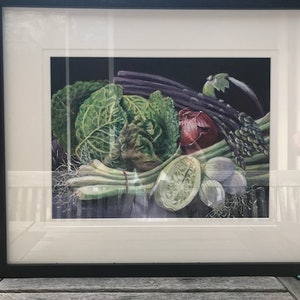 (CreativeWork) Vegetable Still Life by Primose Sully. arcylic-painting. Shop online at Bluethumb.