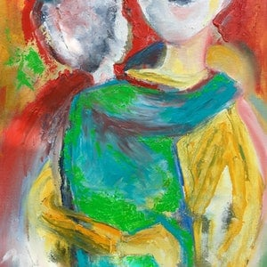 (CreativeWork) Mother and Child  by mimi de Boer. oil-painting. Shop online at Bluethumb.