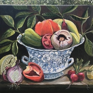 (CreativeWork) Vegetables in antique blue bowl by Primose Sully. arcylic-painting. Shop online at Bluethumb.
