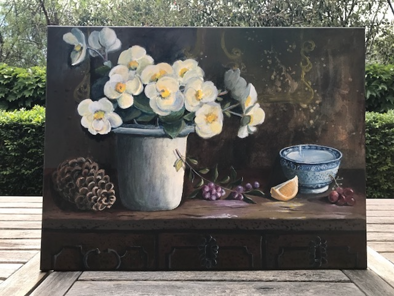(CreativeWork) Still Life whit beginias by Primose Sully. arcylic-painting. Shop online at Bluethumb.