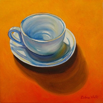 (CreativeWork) Teacup by Delma White. oil-painting. Shop online at Bluethumb.