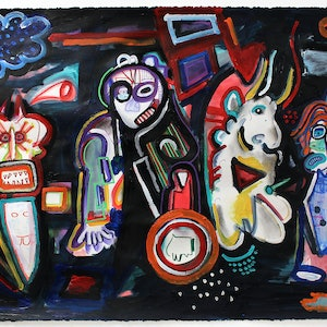 (CreativeWork) Stand Up to Your Demons or... Run! by Joel Cunningham. mixed-media. Shop online at Bluethumb.