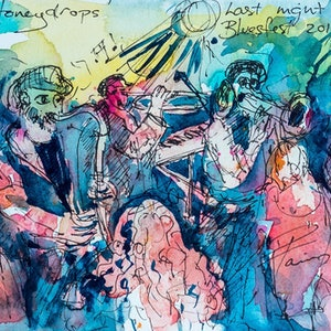 (CreativeWork) Last Night Bluesfest Byron Bay by Pamela Fairburn. watercolour. Shop online at Bluethumb.
