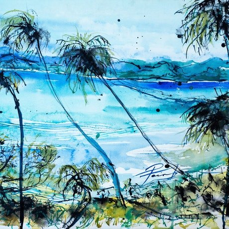 (CreativeWork) After the Cyclone Savusavu Fiji by Pamela Fairburn. Watercolour Paint. Shop online at Bluethumb.