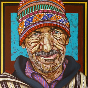 (CreativeWork) Moroccan Street Vendor by Aidan Smith. arcylic-painting. Shop online at Bluethumb.