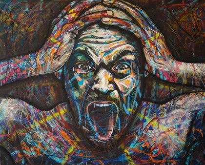 (CreativeWork) Rollercoaster - Life as an Artist by Aidan Smith. arcylic-painting. Shop online at Bluethumb.