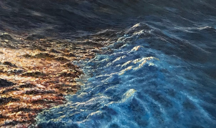 (CreativeWork) Holiday impressions at sea by Alex Mo. Oil Paint. Shop online at Bluethumb.