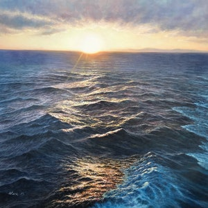 (CreativeWork) Holiday impressions at sea by Alex Mo. oil-painting. Shop online at Bluethumb.