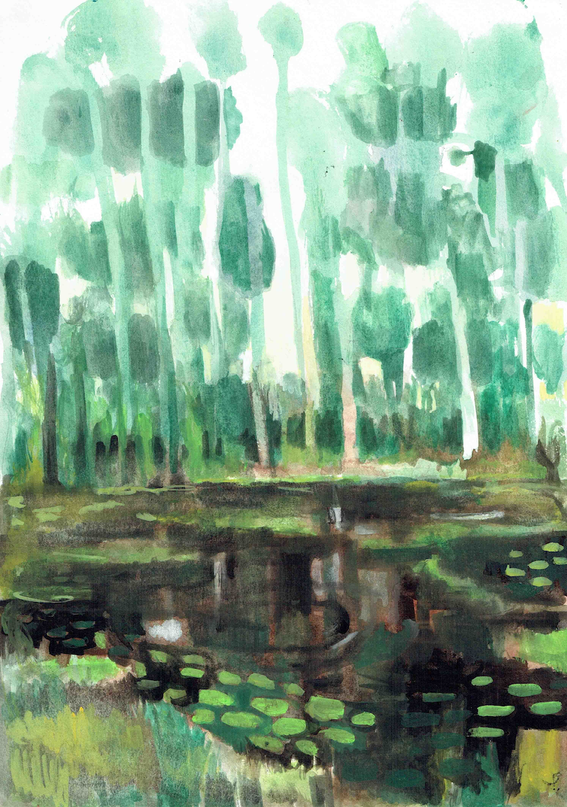 (CreativeWork) Jungle Pool number 2 by John Graham. Watercolour Paint. Shop online at Bluethumb.