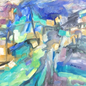 (CreativeWork) Streetscape by sue bannister. oil-painting. Shop online at Bluethumb.