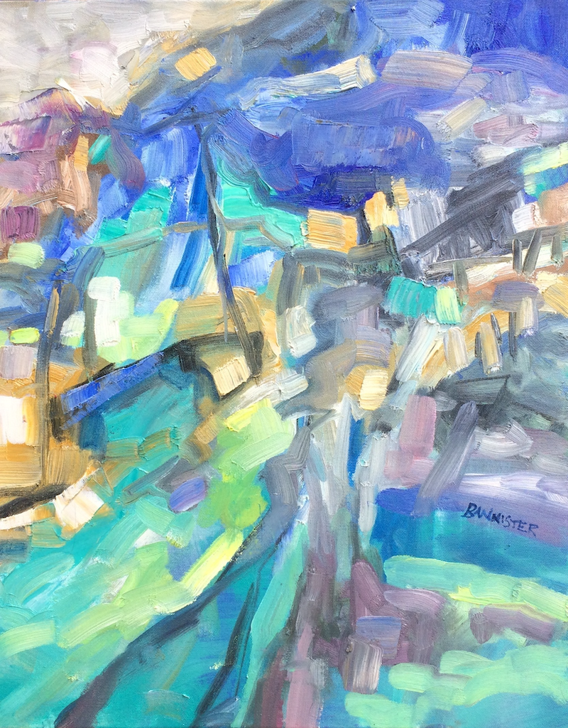 (CreativeWork) Streetscape by sue bannister. Oil Paint. Shop online at Bluethumb.