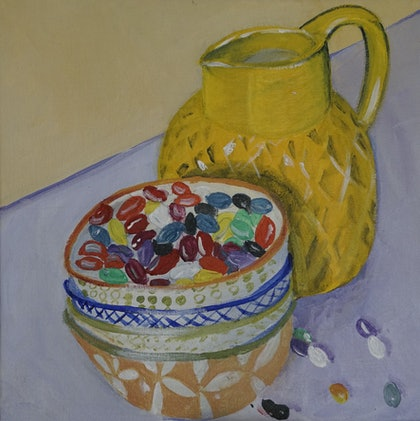 (CreativeWork) Jelly Beans Study 2 by Gin Sen. arcylic-painting. Shop online at Bluethumb.