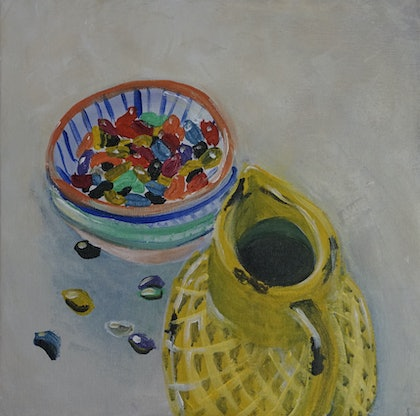 (CreativeWork) Jelly Beans Study 3 by Gin Sen. arcylic-painting. Shop online at Bluethumb.