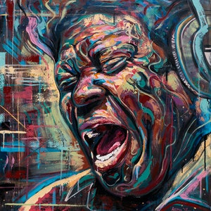 (CreativeWork) Charles Bradley - The Screaming Eagle of Soul by Aidan Smith. oil-painting. Shop online at Bluethumb.