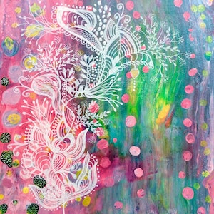 (CreativeWork) Pink Bubbles by Paddy Colahan. arcylic-painting. Shop online at Bluethumb.