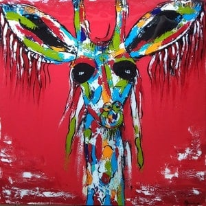 (CreativeWork) G. G. Giraffe by Anna Farmilo. arcylic-painting. Shop online at Bluethumb.