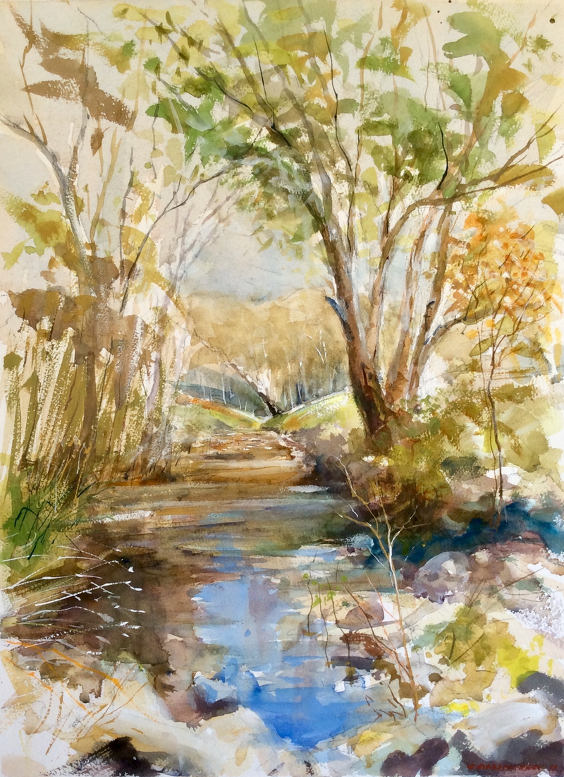 (CreativeWork) Mount Pleasant Creek , Runnymede, Central Victoria. by Geoff Stanistreet. Watercolour Paint. Shop online at Bluethumb.