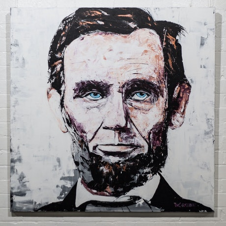 (CreativeWork) Abraham Lincoln by Tim Christinat. Acrylic Paint. Shop online at Bluethumb.