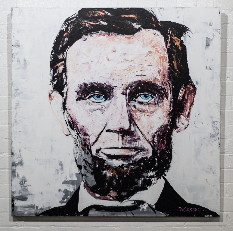 (CreativeWork) Abraham Lincoln - original by Tim Christinat. arcylic-painting. Shop online at Bluethumb.