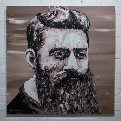 (CreativeWork) Ned Kelly - original by Tim Christinat. arcylic-painting. Shop online at Bluethumb.