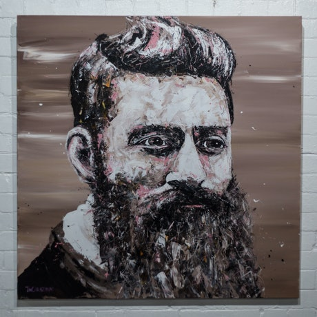 (CreativeWork) Ned Kelly by Tim Christinat. Acrylic Paint. Shop online at Bluethumb.