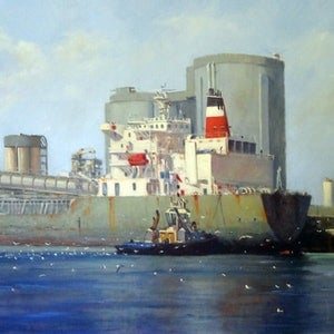 (CreativeWork) Another Cargo Loaded by Mary Hyde. oil-painting. Shop online at Bluethumb.