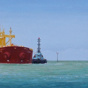 (CreativeWork) Tropical arrival: Townsville by Don Braben. arcylic-painting. Shop online at Bluethumb.