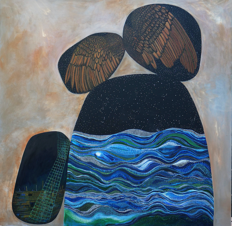 (CreativeWork) The unexpected homecoming of Asger & Eric by Michelle Sanger. arcylic-painting. Shop online at Bluethumb.