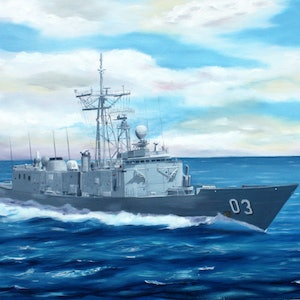 (CreativeWork) HMAS Sydney by Jack Woods. oil-painting. Shop online at Bluethumb.