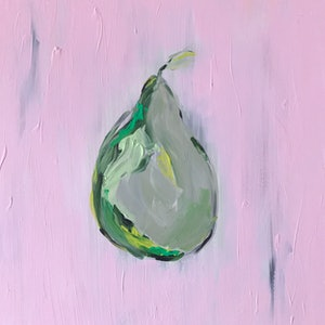 (CreativeWork) The still  pear by Anna Con. arcylic-painting. Shop online at Bluethumb.