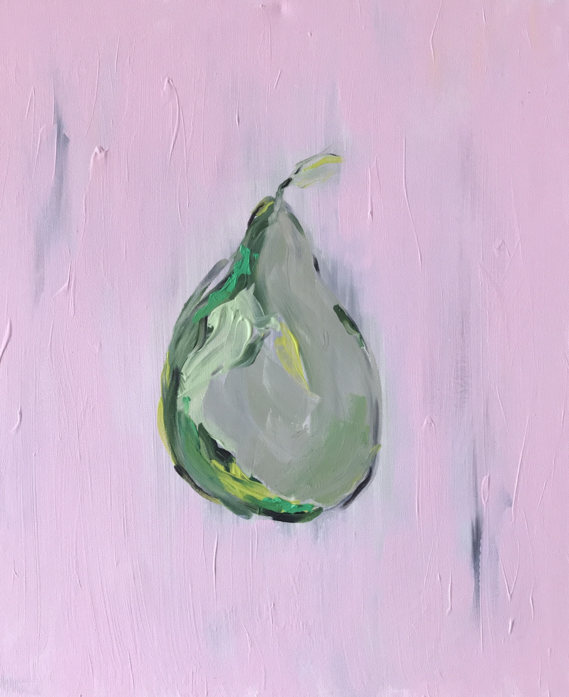 (CreativeWork) The still  pear by Anna Constantine. Acrylic Paint. Shop online at Bluethumb.