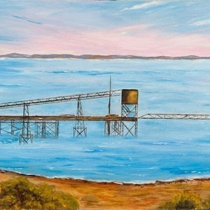 (CreativeWork) Australian Landscape Iron Ore Wharf' Port Darwin - Northern Territory/ Heritage Seascape - Disappearing Darwin Series  by Kit McNeill. oil-painting. Shop online at Bluethumb.