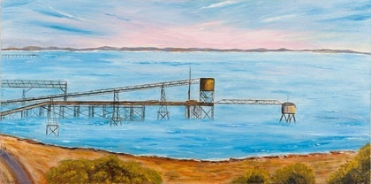 (CreativeWork) Iron Ore Wharf' Port Darwin - Northern Territory/ Heritage Seascape - Disappearing Darwin Series  by Kit McNeill. oil-painting. Shop online at Bluethumb.