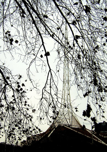 (CreativeWork) Winter trees, Arts Centre Tower, Melbourne by Roz McQuillan. other-media. Shop online at Bluethumb.
