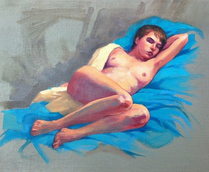 (CreativeWork) Female Nude sleeping by Roz McQuillan. oil-painting. Shop online at Bluethumb.