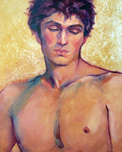 (CreativeWork) Portrait of Tomas by Roz McQuillan. oil-painting. Shop online at Bluethumb.