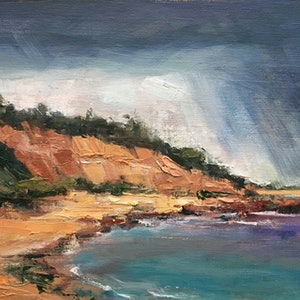 (CreativeWork) Rain over Red Bluff by Roz McQuillan. #<Filter:0x00007fbc897564b0>. Shop online at Bluethumb.