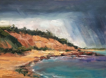(CreativeWork) Rain over Red Bluff by Roz McQuillan. oil-painting. Shop online at Bluethumb.