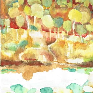 (CreativeWork) Outback Lagoon  by John Graham. watercolour. Shop online at Bluethumb.