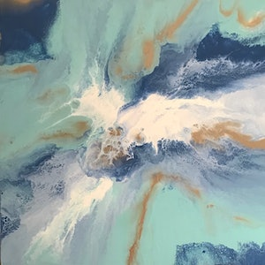 """(CreativeWork) ORIGINAL ABSTRACT ART PAINTING ON STRETCHED CANVAS  """"ISLAND LAGOON"""" BLUE WHITE GOLD SEA GREEN by Debra Ryan. mixed-media. Shop online at Bluethumb."""