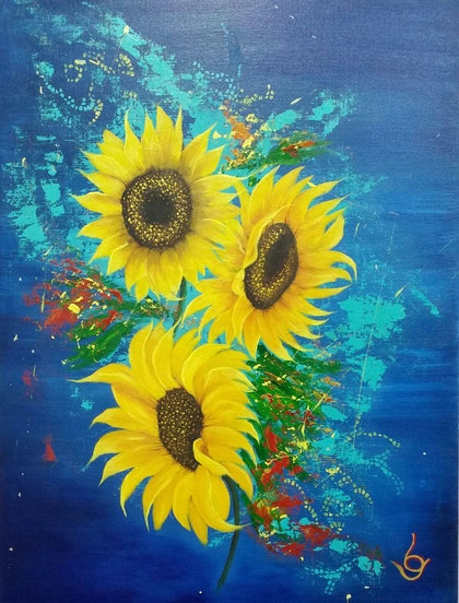 """(CreativeWork) """"SUNFLOWERS"""" by Lynne Gehrke. arcylic-painting. Shop online at Bluethumb."""