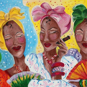 (CreativeWork) It is just us 4 girls having a conversation by sladjana lazarevic. arcylic-painting. Shop online at Bluethumb.