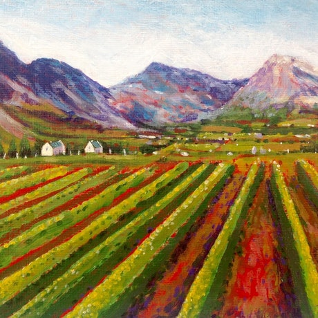 (CreativeWork) Cape Winelands by LOUISE GROVE WIECHERS. Acrylic Paint. Shop online at Bluethumb.