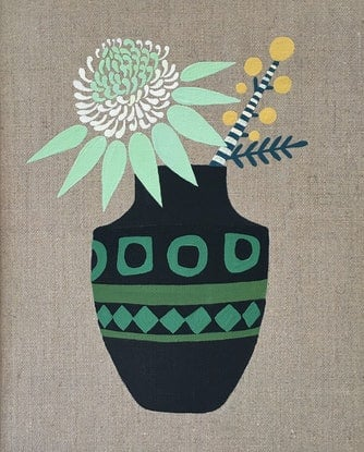 (CreativeWork) White Waratah and Wattle in Modernist Vase by Sally Browne. Acrylic Paint. Shop online at Bluethumb.