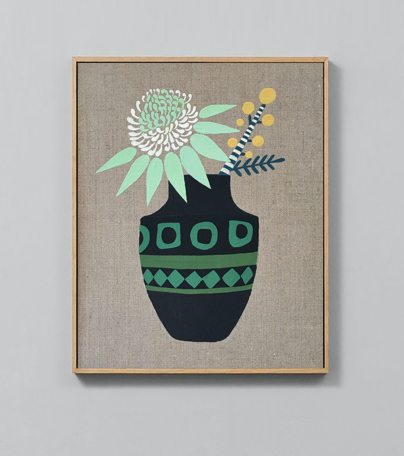 (CreativeWork) White Waratah and Wattle in Modernist Vase by Sally Browne. arcylic-painting. Shop online at Bluethumb.
