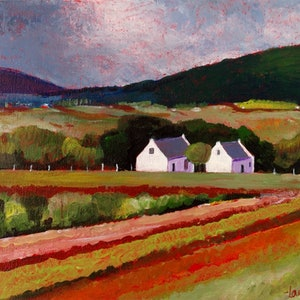 (CreativeWork) VINEYARD WITH COTTAGES by LOUISE GROVE WIECHERS. arcylic-painting. Shop online at Bluethumb.