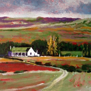 (CreativeWork) FARMHOUSE by LOUISE GROVE WIECHERS. arcylic-painting. Shop online at Bluethumb.