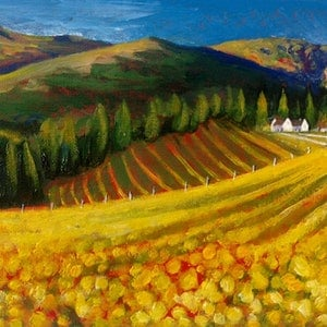 (CreativeWork) AUTUMN VINEYARD by LOUISE GROVE WIECHERS. arcylic-painting. Shop online at Bluethumb.