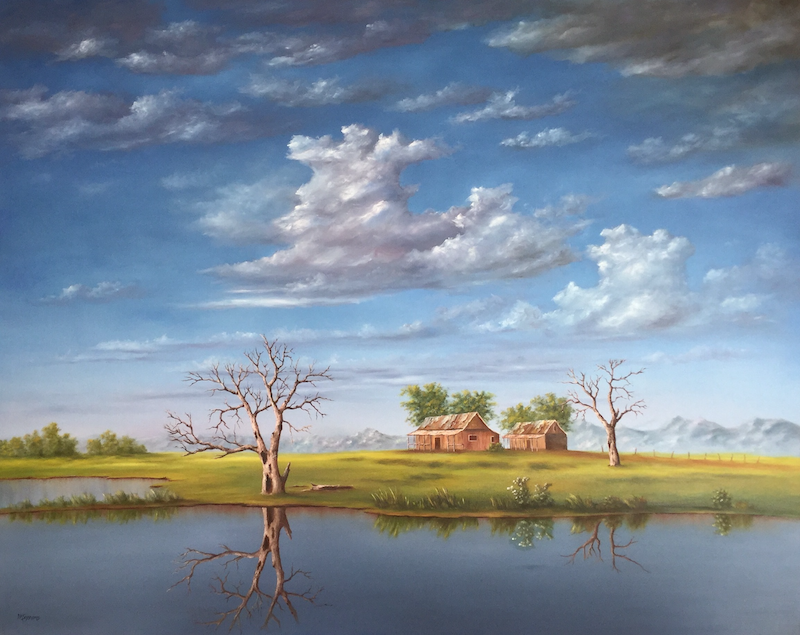(CreativeWork) OUTBACK HOMESTEAD IN THE WEST by Matt Symons. oil-painting. Shop online at Bluethumb.